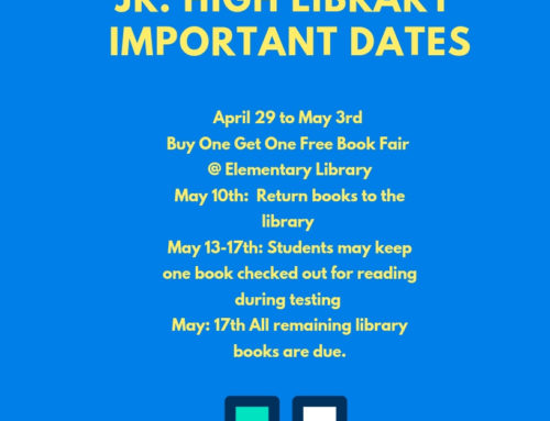 Jr. High Library End of Year Dates